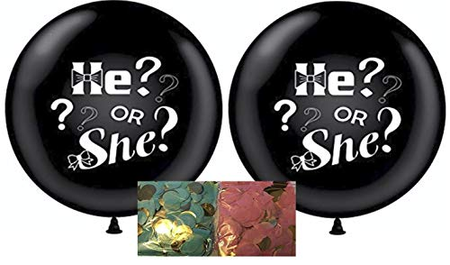 XL Gender Reveal Party Balloon Pop - with Shredded Pink & Blue Confetti - He or She Boy or Girl - Includes 2 Jumbo 36