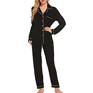 Ekouaer Pajamas Set Long Sleeve Sleepwear Womens Button Down Nightwear Soft Pj Lounge Sets XS-XXL