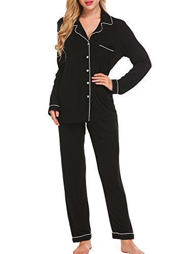 Ekouaer Women's Long Two-Piece Soft Sleep Pajama Set(Black, Medium)
