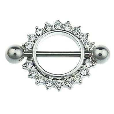 Nipple Body Piercing Jewellery Bar Shield Ring Surgical Steel CZ Gem Pairs