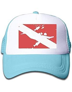 Scuba Diver Flag On Boys and Girls Trucker Hat, Youth Toddler Mesh Hats Baseball Cap