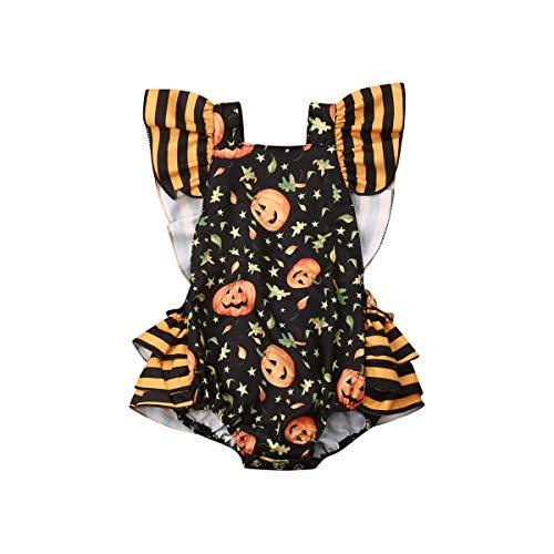 (Listogether Summer Newborn Kids Baby Girls Cute Stripe Tassels Romper Bodysuit Jumpsuit Clothes Outfits (6-12 Months, Halloween Pumpkin Romper))