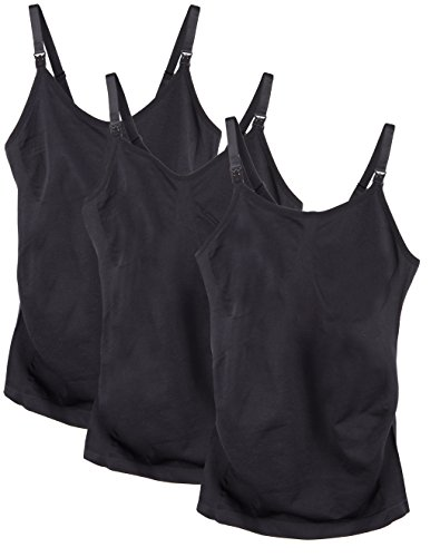 Caramel Cantina 3 Pack Women's Nursing Cami Built in Bra (Large, 3PK Black)