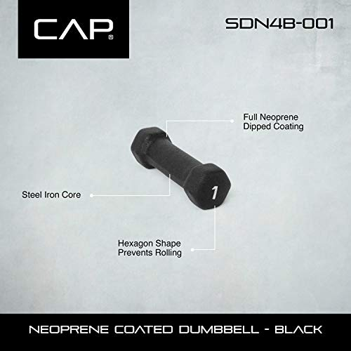 CAP Barbell Neoprene Coated Dumbbell (Pair), 1 lb, Black by CAP Barbell (Image #2)