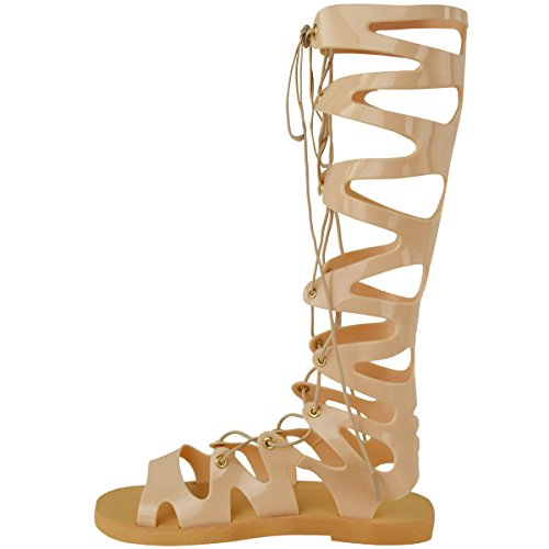 Fashion Thirsty Womens Ladies Knee High Lace Up Jelly Sandals Gladiator Flat Summer Shoes Size Nude xq30E5W
