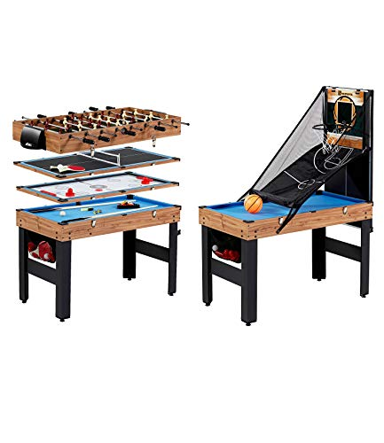 MD Sports 48 5-in-1 Combination Game Set - Billiards, Slide Hockey, Foosball, Table Tennis, and Basketball with Side Lock Clips - Quick Set-Up, Interchangeable, Fully Equipped