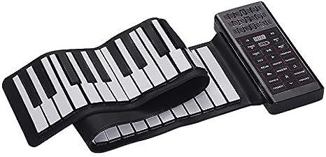 Nrpfell Piano EléCtrico 61 Teclas Piano Enrollable Teclado de ...