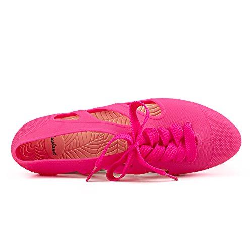 Shenduo - Chanclas de verano de material sintético cómodas para mujer D8020 Rosa