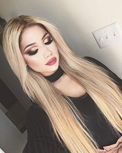 Ombre Ash Blonde Lace Front Wigs Long Natural Straight Heat Resistant Synthetic Hair Wigs for Women Half Hand Tied 24 inch Glueless Wig Freely Part Line+2 pcs Wig Cap