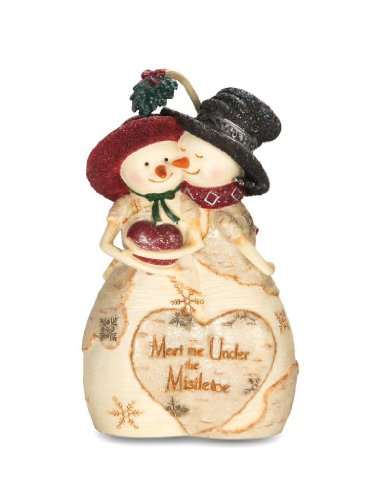 Figurine Mistletoe - Pavilion Gift Company The Birchhearts 81100 Snowman Figurine, Mistletoe Kiss, 4-1/2-Inch