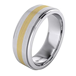 LANDA JEWEL Solid Gold Inlaid Heavy 8mm Sterling Silver Mens Wedding Band Raised Center Comfort Fit Two Tone