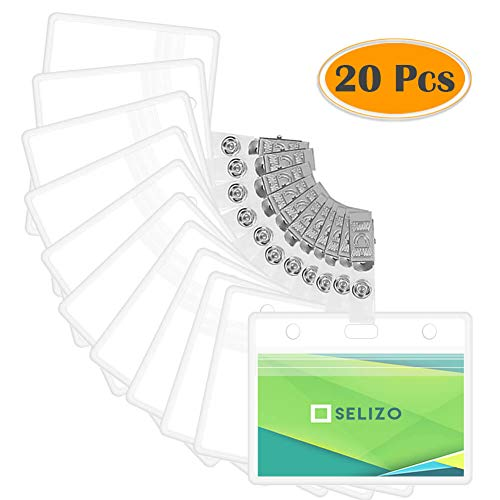 fcefcb385e0a Selizo 20Pcs Plastic ID Card Badge Holder with Name Tag Clips Waterproof  for Work Security Card