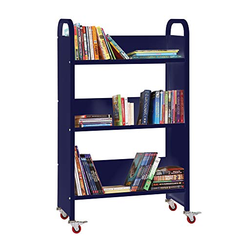 Guidecraft Heavy Duty Three-Shelf Narrow Book Truck - Dark Blue: Rolling Library Book Cart, School Furniture and Office Supply by Guidecraft (Image #1)