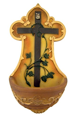 Crown of Thorns Cross with Vines Resin Holy Water Font, 5 1/4 Inch