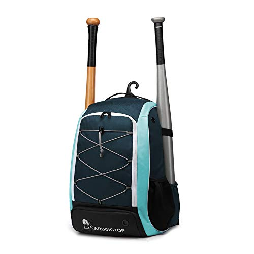Mardingtop Baseball Backpack Youth Baseball Bat Bag, T-Ball & Softball Equipment & Gear for Youth & Adults | Holds Bat, Helmet, Glove, Shoe Compartment, Phone & Fence Hook(Sapphire Blue & - Equipment Bats Softball Baseball Gloves