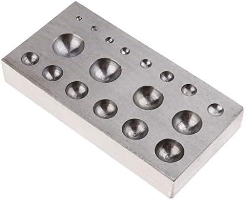 dailymall 18個の丸い空洞の長方形のフラットジュエリーDIYツールを備えたソリッドダッピングブロック