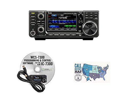 Icom IC-7300 HF/50MHz 100W Base Transceiver with RT Systems Programming Software and Cable and Ham Guides TM Quick Reference Card Bundle!!