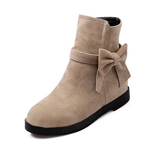 AgooLar Women's Frosted Solid Zipper Round-Toe Kitten-Heels Boots Beige
