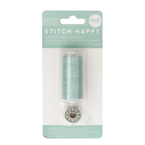 American Crafts We R Memory Keepers Stitch Happy 2 Piece Specialty Sewing Thread Baker's Twine, Mint