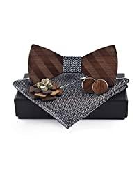 Liyao Men Wooden Classic Bow Tie Set Bow Tie Kerchief Brooch and Cufflink Design Set