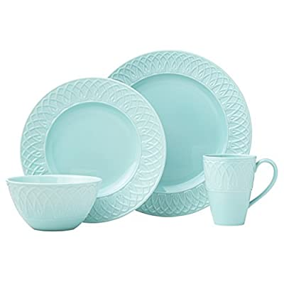 Lenox 4 Piece British Colonial Carved Place Dinnerware Set, Aqua - Crafted of porcelain Microwave and dishwasher safe Place setting includes dinner plate, accent plate, all purpose bowl and mug - kitchen-tabletop, kitchen-dining-room, dinnerware-sets - 41OyqXcn6uL. SS400  -