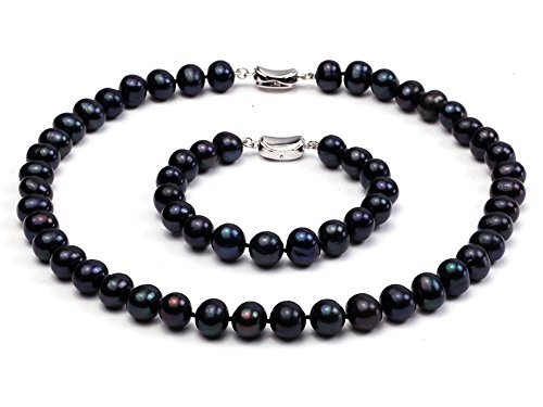 JYX 10-11mm Black Pearl Necklace Round Freshwater Pearl Necklace and Bracelet Set