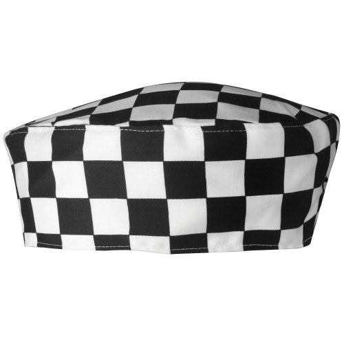 Premier Unisex Chefs Skull Cap (One Size) (Black/White - Chef Pants Checked