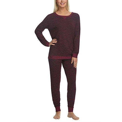 Felina Womens 2 Piece Lounge Pajama Set (Dark Beet Red, Large)