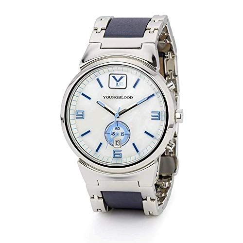 - Youngblood Men's ST.Croix VII Watch - Stainless Steel Japanese Movement Round Chronograph with Steel and Leather Wrist Band - White Mother of Pearl 42mm Dial and Stainless Steel and Blue Leather Band