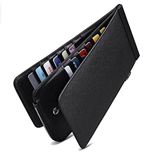 Edmen RFID Blocking Damen Leder Multi Karte organizer Geldbörse mit Reißverschluss Tasche Kartenetui mit Vielen Kartenfächern (Red) Dunkel grau jqaugPU0m