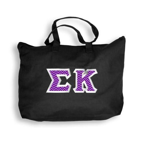 Sigma Kappa Custom Satin Stitch Tote Bag