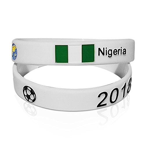 Ohaa Unique World Cup Soccer 2018 Silicone Wristbands 2 Piece Set   12 Countries  Nigeria