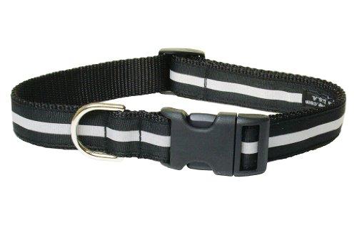 Sassy Dog Wear 18-28-Inch Reflective Black Dog Collar, Large