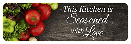 This Kitchen is Seasoned with Love Sign: 23x7-inch Decorative Wood Wall Art Plaque.