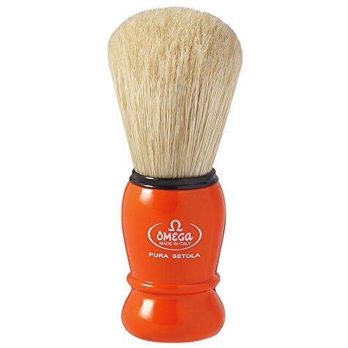 Omega Shaving Brush #10290 Pure Boar Bristles Orange