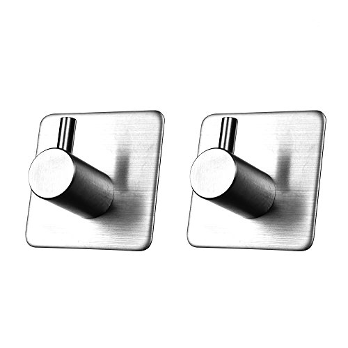 MXTECHNIC 3M Self Adhesive Hook Stick on Wall Sus 304 Stainless Steel Polished Hanging Clothes Coat Hat Hooks And Strong Heavy Duty Metal Super Power Hooks Storage Organizer (2 pack)