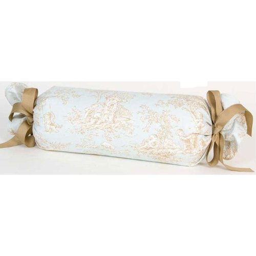 Glenna Jean Central Park Pillow Roll, Blue/Chocolate/Tan/White