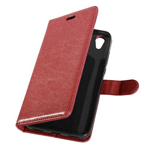 SRY-Conjuntos de teléfonos móviles de Huawei Huawei Hornor 5A Y6II Y6 2 caso, diseño magnético flip folio PU funda de cuero funda de soporte para Huawei Hornor 5A Y6II Y6 2 Proteja completamente el te Brown