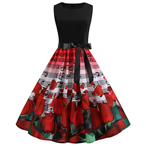 Women Dress, Vintage Musical Note Printed Picnic Party Cocktail Dress Sleeveless Belt Swing Midi Dress (Red, L)