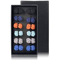 Milacolato 6 Pairs Silk Knot Cufflinks for Men Women Shirt Monochrome Mixed Color with Gift Box