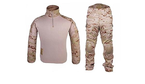 Los hombres del ejército militar Airsoft Paintball war-game disparos Gen2 G2 táctica – Pantalones para uniforme de combate Camisa y pantalones traje con protector coderas y rodilleras Multicam Arid, color Multicam Arid,