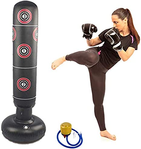 Adult Inflatable Boxing Free Standing Punching Bag Training Fitness Sport Stress