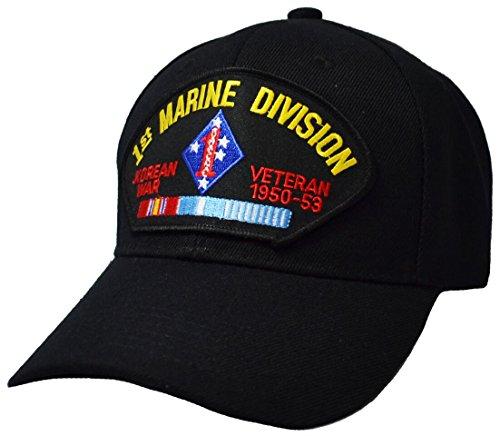 Military Productions 1st Marine Division Korean War Veteran Cap (Marine Division Hat)
