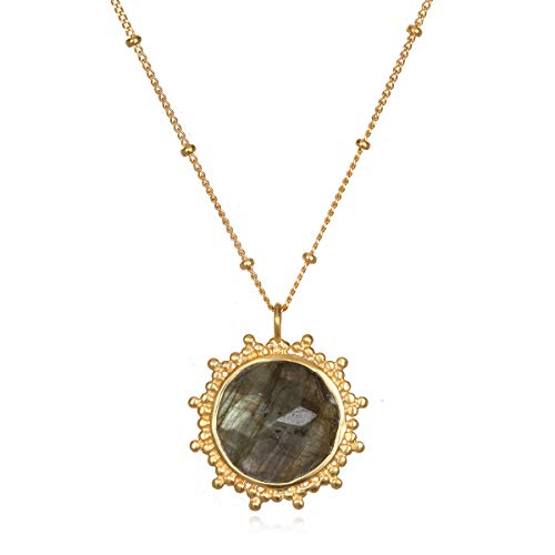 Satya Jewelry Labradorite Gold Pendant Necklace 18-Inch, Gray, One - Gemstone Semi Precious Necklace