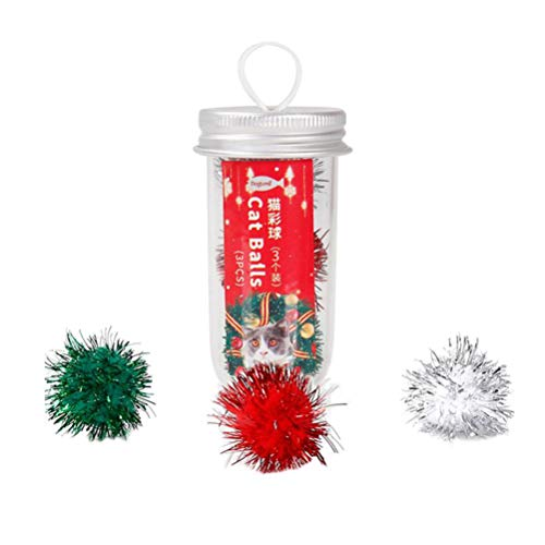 Balacoo 3pcs Cat Toy Balls Assorted Color Sparkle Balls Glitter Pom Pom Balls Interactive Pet Toys for Cat Kitten (Mixed…