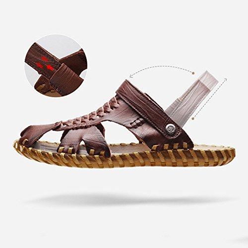 para Exterior de Ajustables Deportes Zapatillas Verano Hombre para Respirable Playa Ocio Dark de de Sandalia de Pescador Brown Cuero adecuadas y de Antideslizante Sandalias Interior 6AqxwaBUA