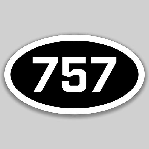 DHDM 757 Area Code Sticker Virginia Virginia Beach Chesapeake Hampton City Pride Love | 5-Inches by 3-Inches | Premium Quality Vinyl UV Resistant Laminate PD2671