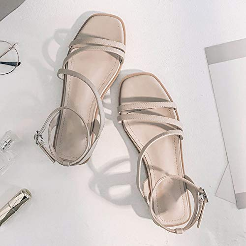Low Color KPHY Student Toe 3Cm Apricot Square Skin With Shoes Sandals Sandals Shoes Buckle Ankle Strap Heel Four Bottom Square Thirty Rome Women'S Toe zzqrg