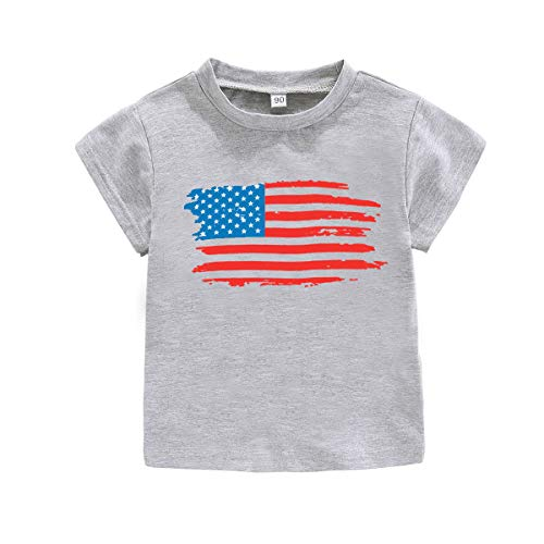 American Heart Baby T-shirt - American Flag I Love USA T-Shirt 4th of July Kids Independence Day Short Sleeve Outfits (9-12M, Gray)