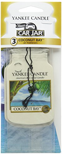 Yankee Candle Car Jar Classic Cardboard Car Home and Office Hanging Air Freshener Coconut Bay Scent Pack of 3 Coconut Bay Yankee Candle